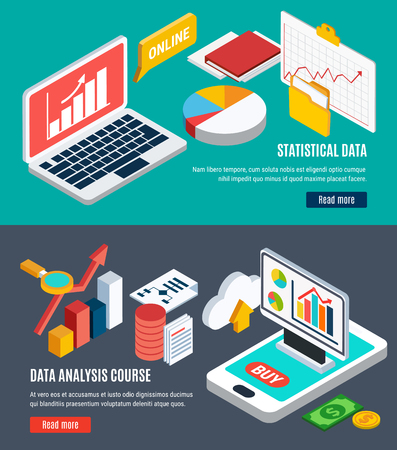 Data analysis horizontal banners with online statistical data and dynamics of currency course graphs and diagrams isometric icons vector illustration Illustration