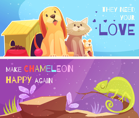 Pet shop 2 horizontal cartoon banners with dog cat hamster funny chameleon and text isolated vector illustration