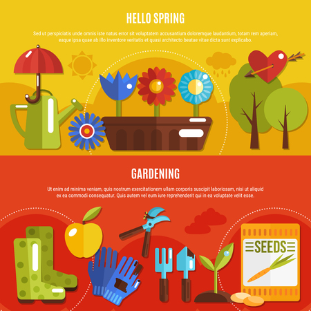 Colorful set of two horizontal spring banners with blooming flowers and gardening tools flat isolated vector illustration Illustration