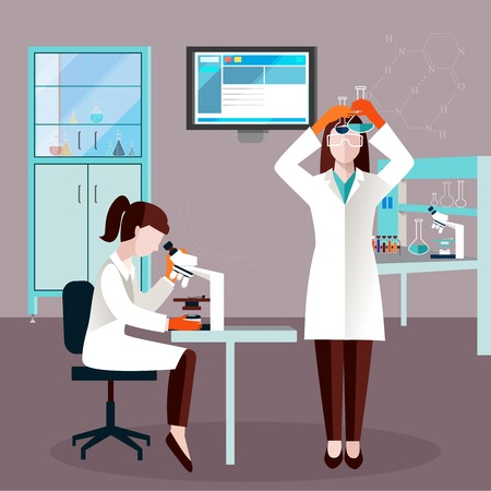 Flat scientists people composition with two employees in laboratory study the liquid in the flasks vector illustration