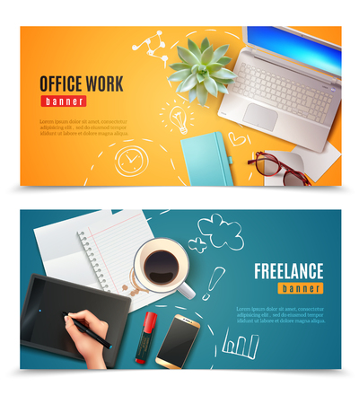 Set of horizontal banners 3d office objects on yellow and blue background isolated vector illustration Illustration