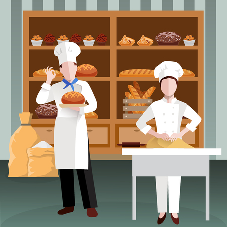 Cooking people colored and flat composition with two bakery employees in the workplace vector illustration