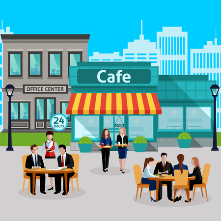 Business lunch people colored composition with outdoor cafe and waiters take orders vector illustration
