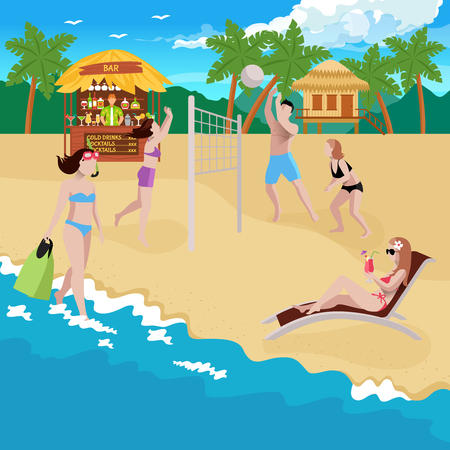 People on beach composition with view of coastline and sandy beach with bar bungalow and volleyball playground vector illustration