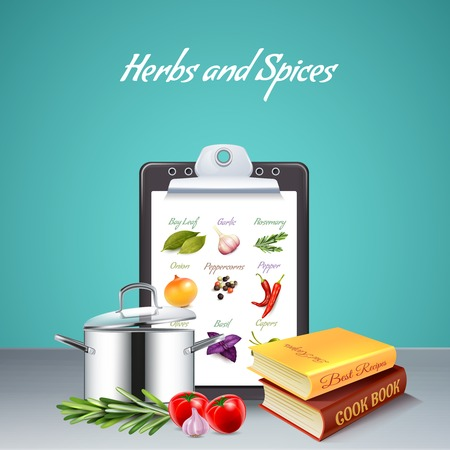 Realistic background with list of various herbs and spices two cook books and big pan vector illustration