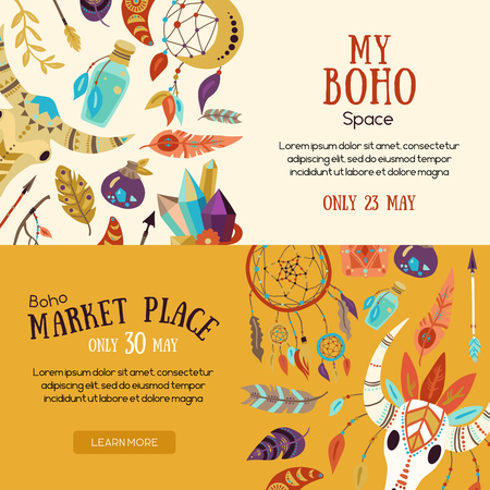 Boho souvenirs symbols attributes  decorative elements market place sale announcement 2 horizontal website banners isolated vector illustration