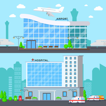 Municipal buildings set of two flat compositions with modern airport terminal and hospital urban landmarks vector illustration