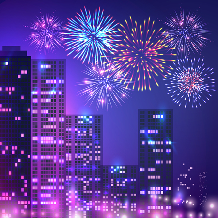 Fireworks composition of urban scenery with multistorey buildings apartment houses and fireworks on night sky vector illustration Çizim