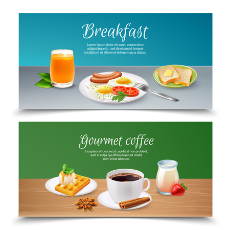 Realistic set of two horizontal banners with served tasty breakfast realistic isolated vector illustration