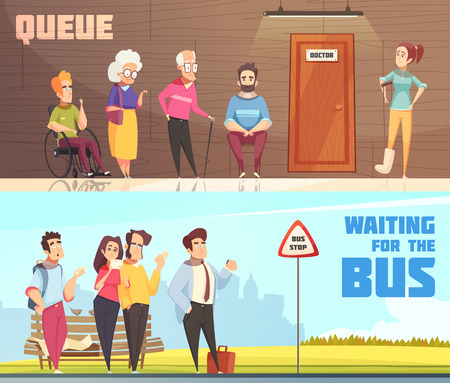 Personas en colas en la sala de espera de los médicos y en la parada de autobús 2 pancartas horizontales aisladas ilustración vectorial