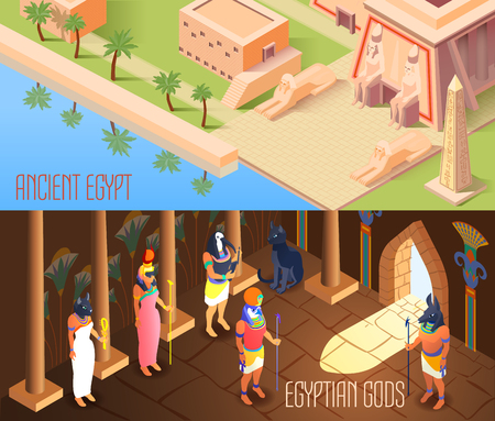 Horizontal isometric banners set with egyptian gods and ancient tomb 3d isolated vector illustration