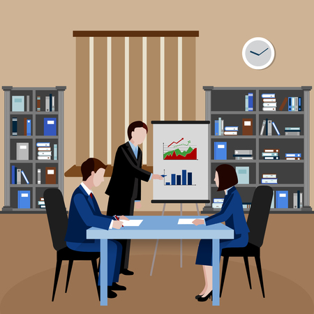 Flat design human resources background with three clerks at business meeting in office vector illustration Illustration