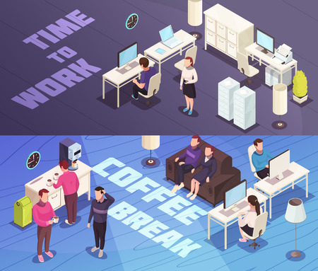 Office 2 horizontal isometric banners with personnel working at computer and coffee break discussions isolated vector illustration