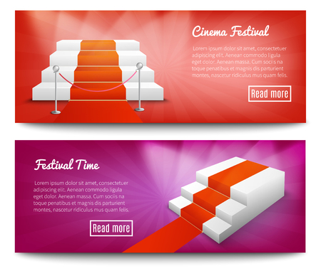 Red carpet cinema festival 2 realistic bright background horizontal banners set web page design  isolated vector illustration