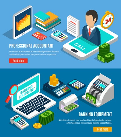 Set of horizontal isometric banners on blue background with banking equipment and professional accountant isolated vector illustration