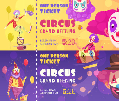 Circus tickets 2 funny retro style horizontal banners with clowns performance date time background isolated vector illustration Illustration