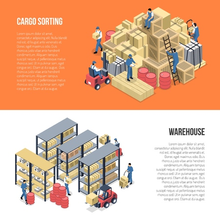 Warehouse isometric banners with racks of goods and workers engaged in cargo sorting vector illustration
