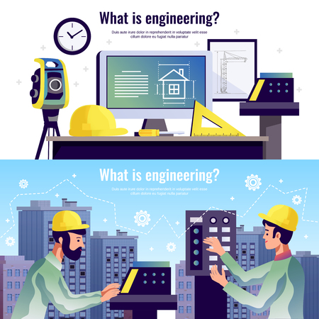 Engineering horizontal banners with drawing tools special constructor equipment and two engineers against modern multistory city buildings background vector illustration Illustration