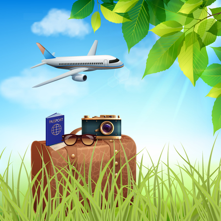 Summer holidays realistic colored concept airplane with tourists flies on a suitcase standing in the grass vector illustration