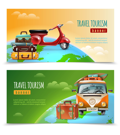 Set of two horizontal travel tourism banners with earth globe suitcase and transport vehicle editable text vector illustration Illustration
