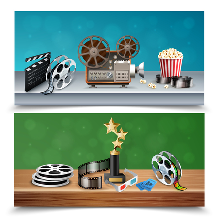 Realistic colorful set of two horizontal cinema banners with trophy reels clapboard camcorder popcorn bucket tickets isolated vector illustration