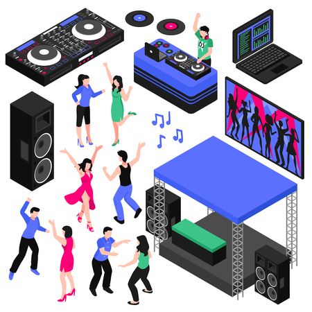 Dj and music isometric set with dancing symbols isolated vector illustration