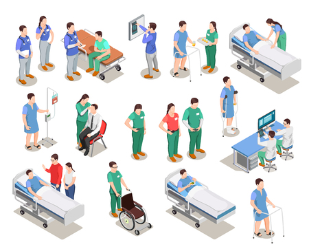 Hospital staff, doctors and patients, medical examination, clinic equipment, set of isometric people isolated vector illustration Vettoriali