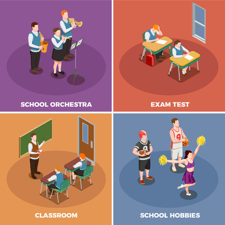 High school isometric people 2x2 design concept with human characters of students and their various activities vector illustration