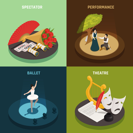 Theatre isometric icons 2x2 design concept with simple compositions of theatrical equipment and actors with text vector illustration