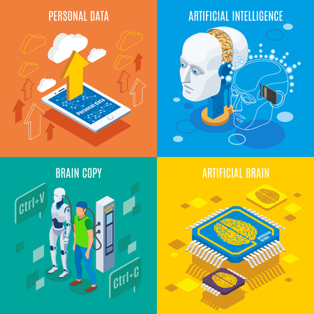 Backup personality isometric 2x2 design concept with conceptual images of futuristic technologies and artificial brain electronics vector illustration