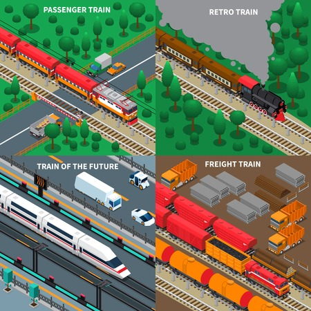 Passenger and freight trains, modern and retro transport, rail road infrastructure, isometric design concept isolated vector illustration