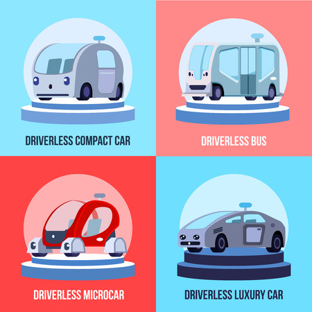 Autonomous driverless vehicles 4 colorful background icons square with compact luxurious car and bus isolated vector illustration