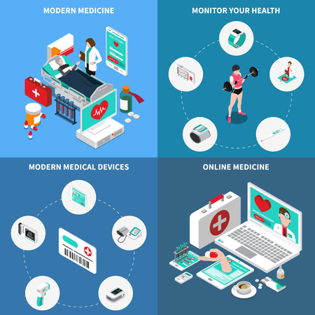 Digital medicine isometric design concept with monitoring of own health, online consultation, medical devices isolated vector illustration