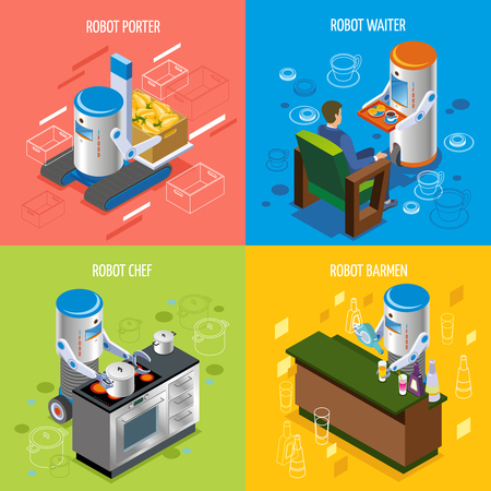 Isometric robotic restaurant icon set with robot porter waiter chef and barmen descriptions vector illustration Illustration