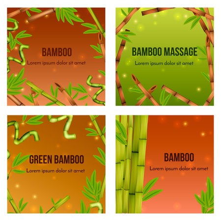 Green bamboo realistic natural background 4 icons square with decorative elements and massage tools isolated vector illustration