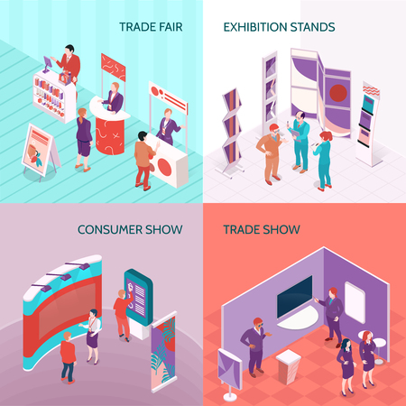 Exhibition stands used at trade fair and consumer show 2x2 design concept isometric vector illustration
