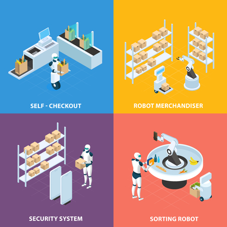 Automated shops isometric concept with self checkout, robots for merchandising and sorting, security system isolated vector illustration