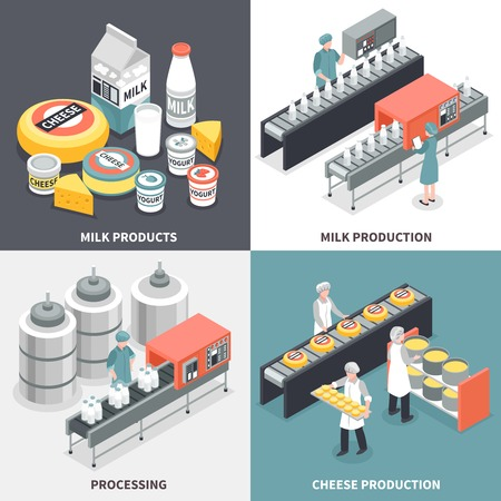 Process of milk and cheese production and factory workers 2x2 design concept isolated on colorful background 3d isometric vector illustration Stock Illustratie