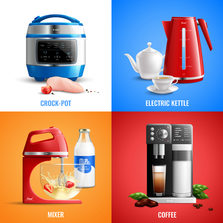 Household kitchen appliances 2x2 design concept set of coffee machine mixer electric kettle crock pot realistic vector illustration Иллюстрация