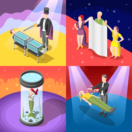 Magic show isometric concept with escape from closed water chamber, trick with sawing, levitation, isolated vector illustration Ilustração