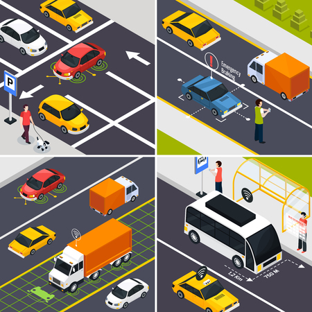 Autonomous vehicle 2x2 design concept set of fragments of city roads with wireless driverless transportation traffic isometric vector illustration Illustration