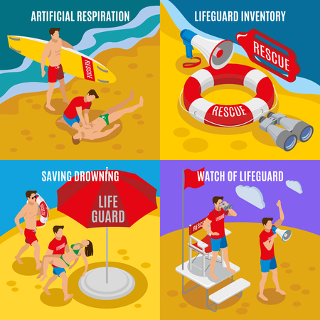 Beach lifeguards 2x2 design concept  set of artificial respiration lifeguard inventory saving drowning watch of lifeguard isometric compositions vector illustration