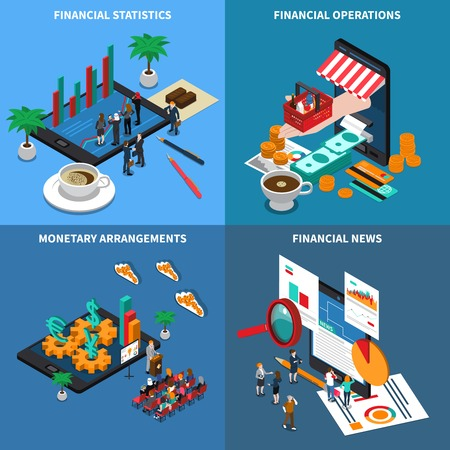 Financial technology, statistics and economy news, monetary arrangements, trading operations, isometric design concept, isolated vector illustration Illustration