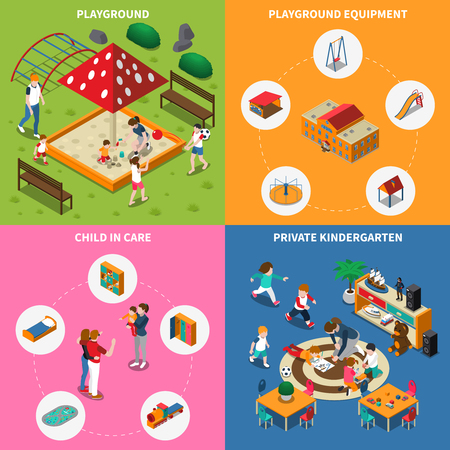 Kids outdoor games, equipment of play ground, child in care, private kindergarten, isometric concept, isolated vector illustration