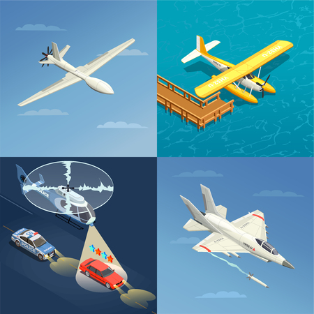 Airplanes helicopters isometric 2x2 design concept with images of different purpose aircrafts for military and civil use vector illustration Illustration