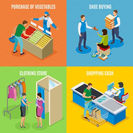 Shopping people isometric design concept with purchase of vegetables, shoe buying, clothing store, cashier isolated vector illustration