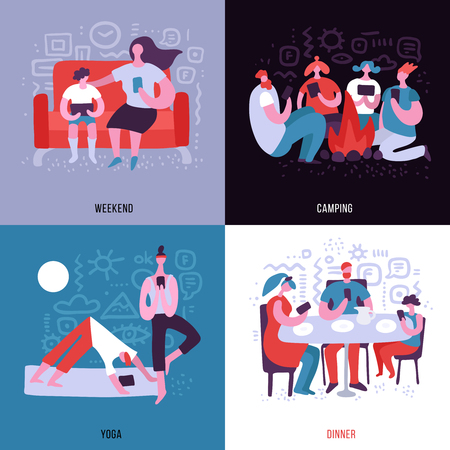 People dependent on gadgets using them everywhere 2x2 flat design concept isolated on colorful background vector illustration Çizim