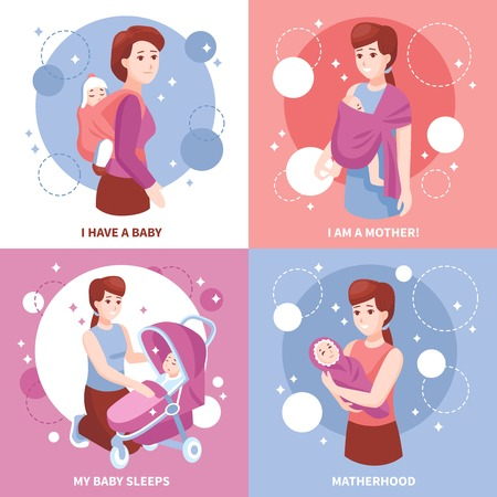 Sleeping kid in mothers arms baby carrier sling pram concept 4 pink blue icons isolated vector illustration