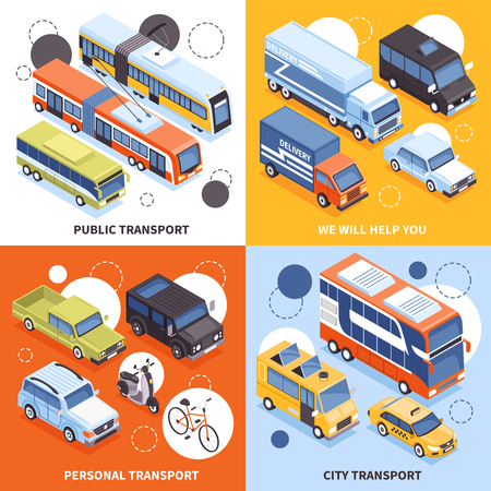 Public transport, city carriers, personal vehicles, trucks for cargo delivery isometric design concept isolated vector illustration Archivio Fotografico - 101855785