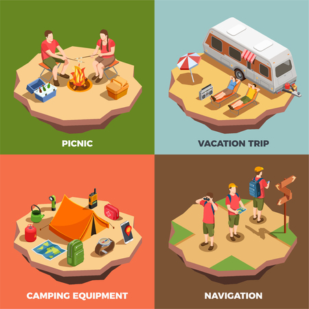 Camping hiking isometric icons 2x2 design concept with compositions of human characters and trip related items vector illustration Illustration